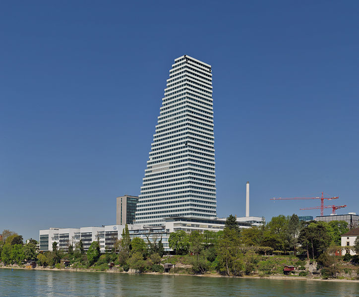 The Roche Tower, headquarters of Hoffmann-La Roche in Basel. (Credit: Taxiarchos228/Wikipedia.)