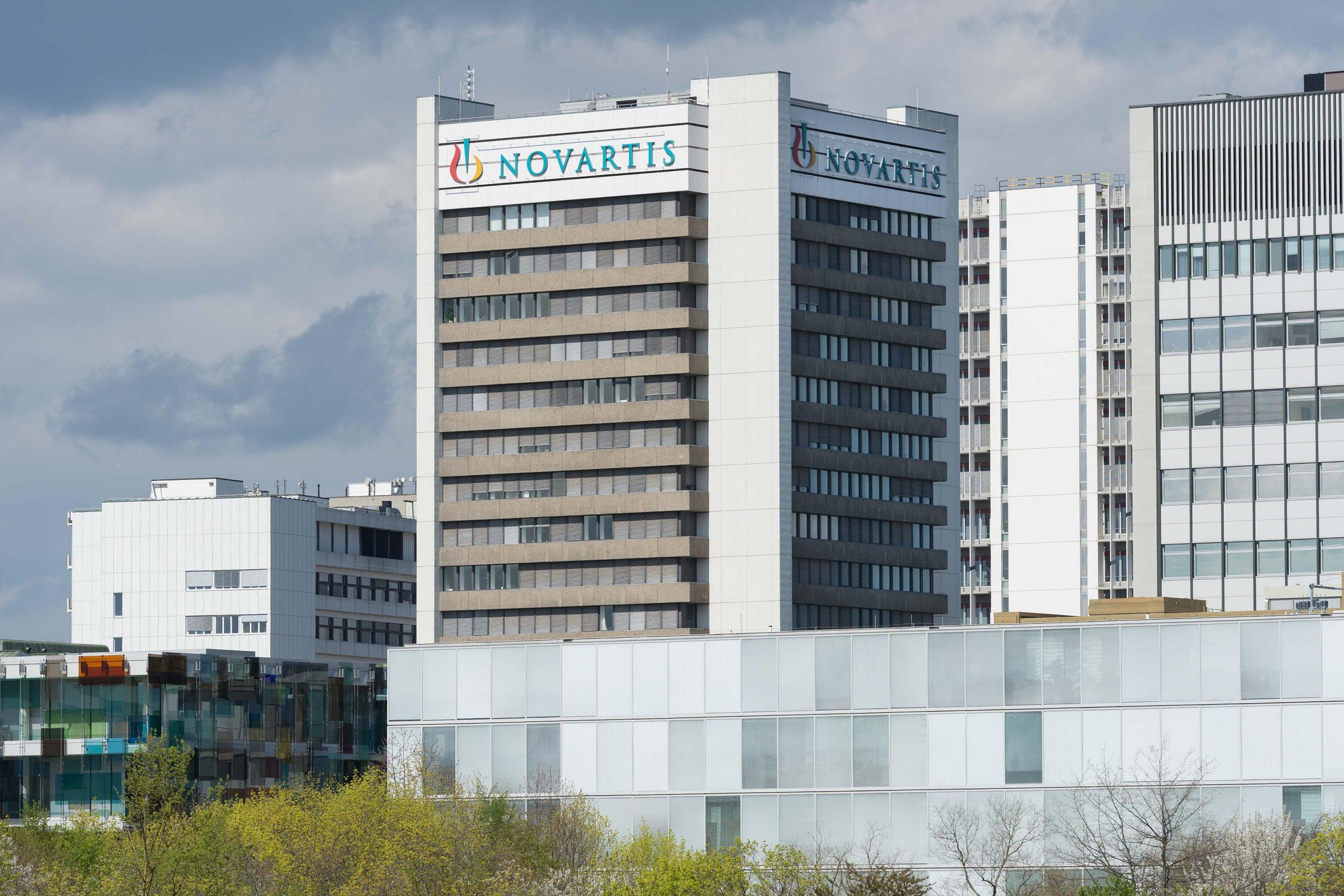 Novartis tower with surrounding buildings. (Credit: Novartis AG.)